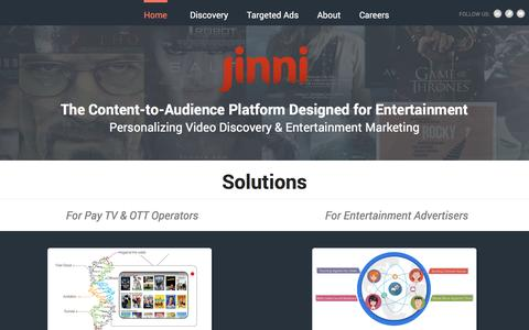 Screenshot of Home Page jinni.com - Jinni Entertainment Discovery & Targeted Ads - captured Nov. 10, 2015
