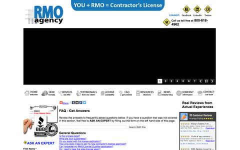 Screenshot of FAQ Page rmoagency.com - FAQ - Frequently Asked Questions. You + RMO = Contractor's License - captured Jan. 11, 2016