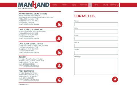 Screenshot of Contact Page manhand.co.za - Contact Us - captured Nov. 18, 2016