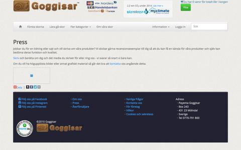 Screenshot of Press Page goggisar.se - Press » Goggisar - captured May 19, 2016