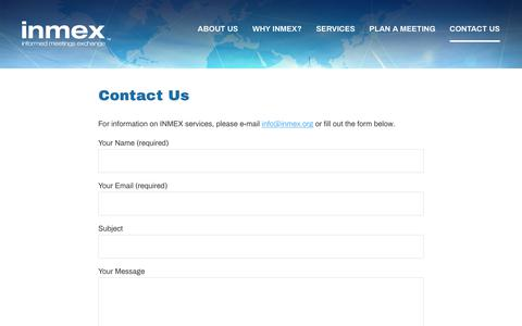 Screenshot of Contact Page inmex.org - Contact Us – INMEX - captured Dec. 17, 2018