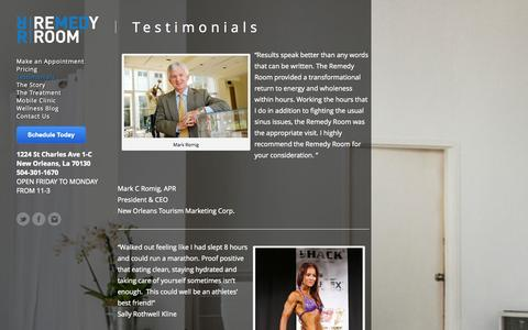 Screenshot of Testimonials Page theremedyroom.com - Testimonials - The Remedy Room | Re-Hydration Therapy | New Orleans, La - captured Oct. 9, 2014