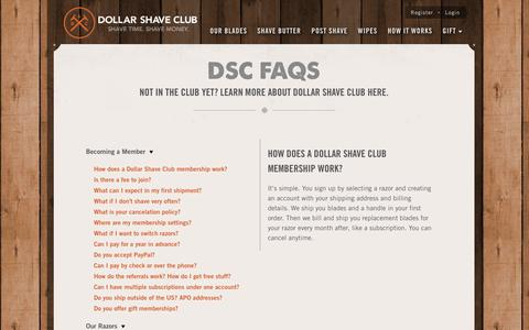 Screenshot of FAQ Page dollarshaveclub.com - Frequently Asked Questions | Dollar Shave Club - captured Sept. 15, 2014