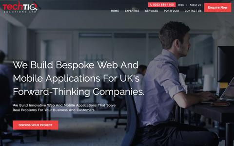 Screenshot of Home Page techtiq.co.uk - Digital Agency London | Digital Innovation Agency | TechTIQ - captured Dec. 19, 2018