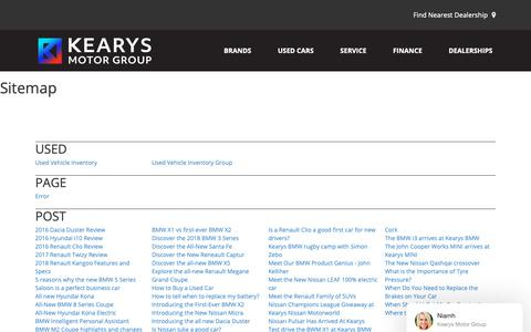 Screenshot of Site Map Page kearys.ie - Sitemap - captured Oct. 15, 2018
