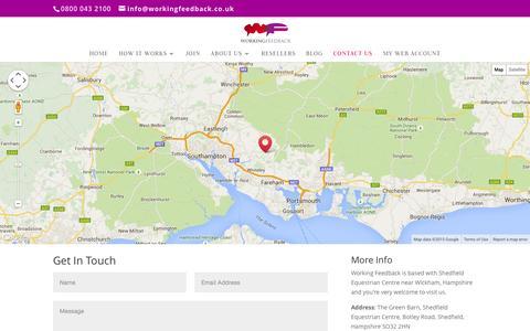 Screenshot of Contact Page workingfeedback.co.uk captured Aug. 14, 2015