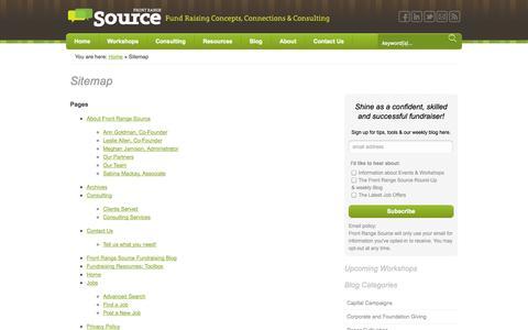 Screenshot of Site Map Page frontrangesource.com - Sitemap - Front Range Source - captured Sept. 30, 2014