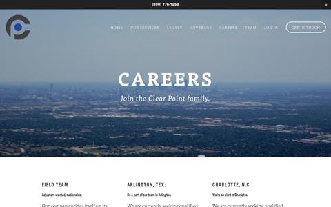 Screenshot of Jobs Page clearpointclaims.com - Careers — Clear Point - captured July 13, 2016