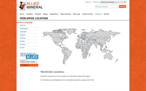 Screenshot of Locations Page alliedmineral.com - Monolithic Refractories, Solutions | Allied Locations - captured Oct. 4, 2014