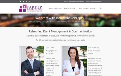 Screenshot of About Page parker.events - UAE Event Management & Communication Experts | PE - captured March 1, 2016