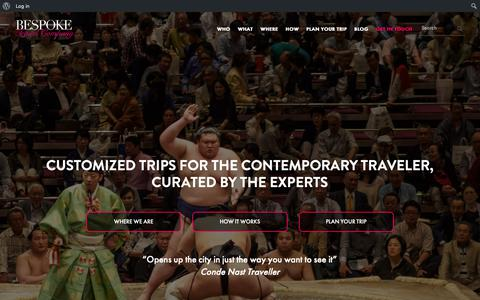 Screenshot of Home Page bespoketravelcompany.com - Custom Curated City Experiences in China | Bespoke Travel Co. - captured Oct. 21, 2018