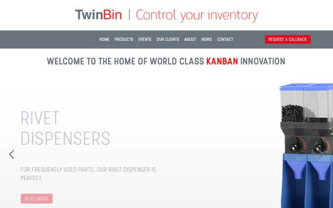 Screenshot of Home Page twinbin.com - Welcome to the home of world class KanBan Innovation - Twin Bin - captured Sept. 19, 2017