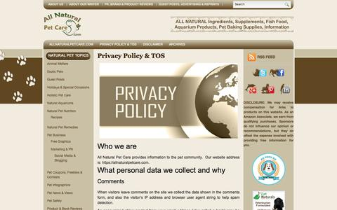 Screenshot of Privacy Page allnaturalpetcare.com - Our Privacy Policy - All Natural Pet Care | All Natural Pet Care Blog - captured July 29, 2018