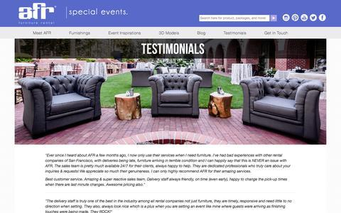 Screenshot of Testimonials Page afrevents.com - Event Furniture Rental Reviews | AFR Customer Reviews - captured Sept. 20, 2018