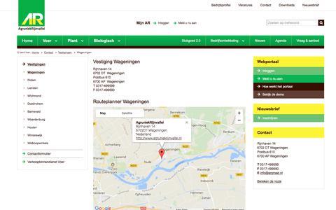 Screenshot of Contact Page agruniekrijnvallei.nl - Wageningen | AgruniekRijnvallei - captured Aug. 31, 2017