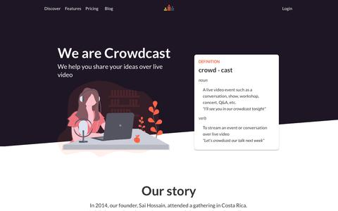 Screenshot of About Page crowdcast.io - Crowdcast – Connect with your audience over live video - captured Nov. 9, 2019