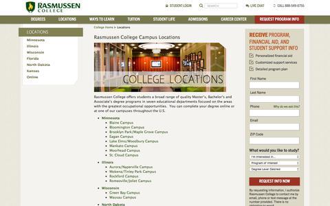 Screenshot of Locations Page rasmussen.edu - Rasmussen College Campus Locations - captured Sept. 22, 2018