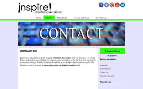 Screenshot of Contact Page inspirecharitablefoundation.org - Contact Inspire Charitable Foundation | Learn More - captured Sept. 30, 2014