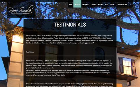 Screenshot of Testimonials Page renesorola.com - Testimonials | Rene Sorola Properties | Houston Luxury Real Estate Agency - captured Oct. 7, 2014