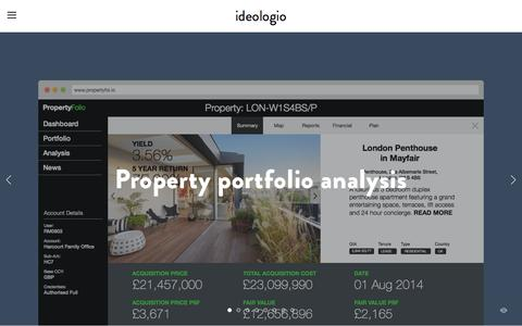 Screenshot of Home Page ideologio.com - ideologio Ń designing for ambitious start-ups - captured Jan. 9, 2016