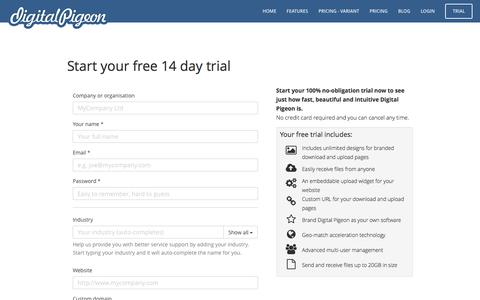 Screenshot of Signup Page digitalpigeon.com - Trial — Digital Pigeon - captured Aug. 1, 2016