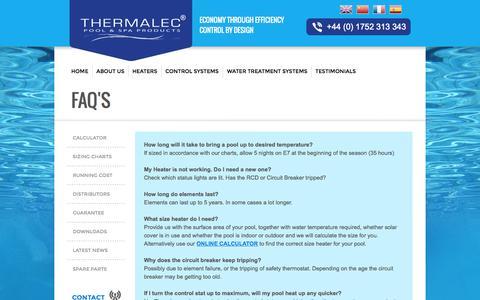 Screenshot of FAQ Page thermalec.co.uk - FAQS - captured Oct. 27, 2014
