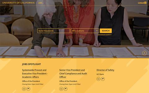 Screenshot of Jobs Page universityofcalifornia.edu - Jobs - University of California - captured April 19, 2017
