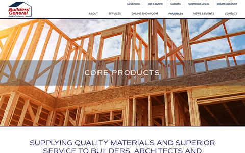 Screenshot of Products Page buildersgeneral.com - Browse Our Products   Building Supplies   Builders' GeneralBuilders General - captured Oct. 7, 2018