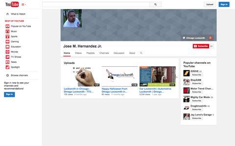 Screenshot of YouTube Page youtube.com - Jose M. Hernandez Jr.  - YouTube - captured Oct. 26, 2014