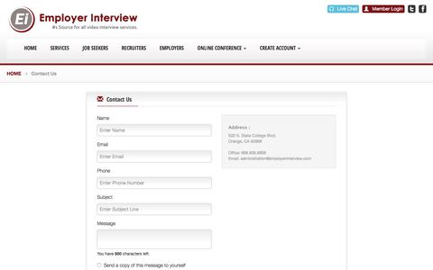 Screenshot of Contact Page employerinterview.com - Welcome to the Frontpage! - Employer Interview - captured Jan. 28, 2016
