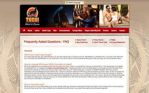 Screenshot of FAQ Page tachipalace.com - FAQ Questions about Tachi Palace Hotel & Casino   Lemoore, CA - captured Dec. 20, 2016