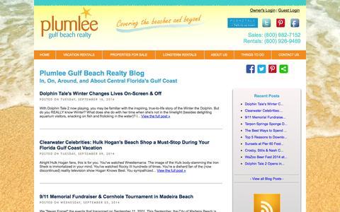 Screenshot of Blog plumleegulfbeachrealty.com - Plumlee Gulf Beach Realty Blog: Central Florida's Gulf Coast - captured Sept. 30, 2014