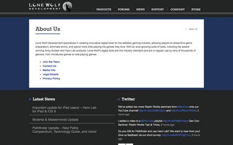 Screenshot of About Page wolflair.com - About Us - captured Sept. 23, 2014