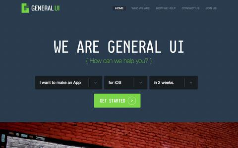 Screenshot of Home Page generalui.com - General UI - captured Sept. 3, 2015