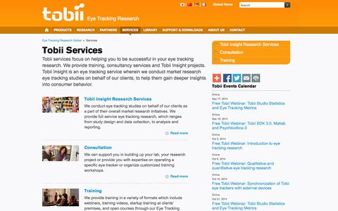 Screenshot of Services Page tobii.com - Tobii Services offering eye tracking training and complete solutions - captured Sept. 17, 2014