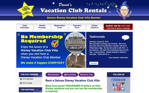 Screenshot of Home Page dvcrequest.com - DVC Rentals from Davids Disney Vacation Club Point Rentals - captured Aug. 31, 2016