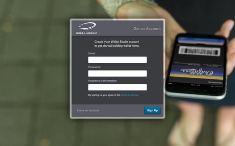 Screenshot of Signup Page urbanairship.com - Urban Airship Wallet Studio - captured Jan. 13, 2016