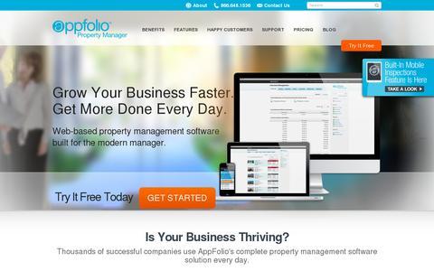 Screenshot of Home Page appfolio.com - AppFolio Property Management Software | A Complete Online Solution | AppFolio.com - captured July 18, 2014