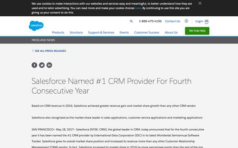 Screenshot of Press Page salesforce.com - Salesforce Named #1 CRM Provider For Fourth Consecutive Year - Salesforce.com - captured Jan. 9, 2019