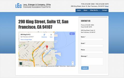 Screenshot of Maps & Directions Page hoa-cpa.com - 290 King Street, Suite 12, San Francisco, CA 94107 · Levy, Erlanger & Company, CPAs - captured Oct. 2, 2014