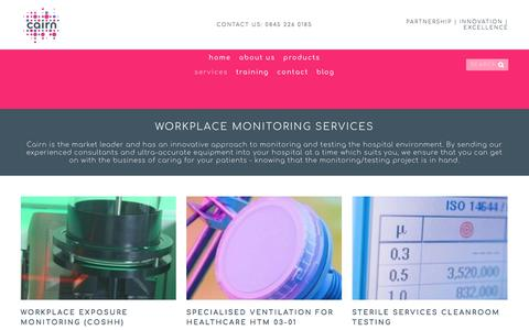 Screenshot of Services Page cairntechnology.com - Health and Safety Consultancy Services — Cairn Technology - captured Sept. 26, 2018