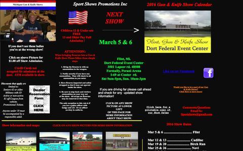 Screenshot of Home Page migunshows.com - Gun shows1 - captured March 6, 2016