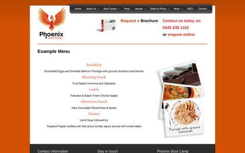 Screenshot of Menu Page phoenixbootcamp.co.uk - Example Menu | Phoenix Boot Camp - captured Sept. 29, 2014