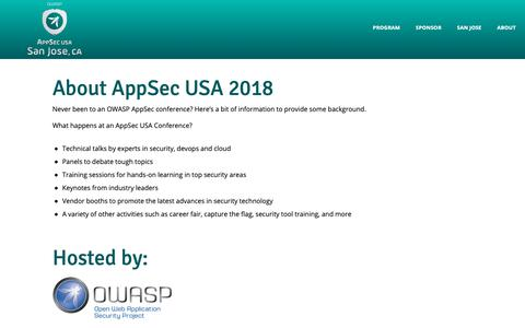 Screenshot of About Page appsecusa.org - OWASP AppSec USA 2018 - About AppSec USA 2018 - captured Oct. 26, 2018