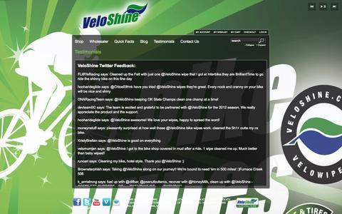Screenshot of Testimonials Page veloshine.com - Testimonials - captured Oct. 7, 2014