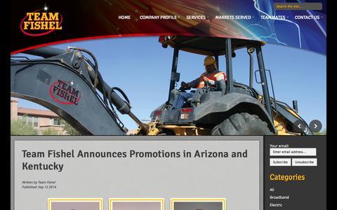 Screenshot of Blog teamfishel.com - Team Fishel Announces Promotions in Arizona and Kentucky on Team Fishel Blog - captured Oct. 2, 2014