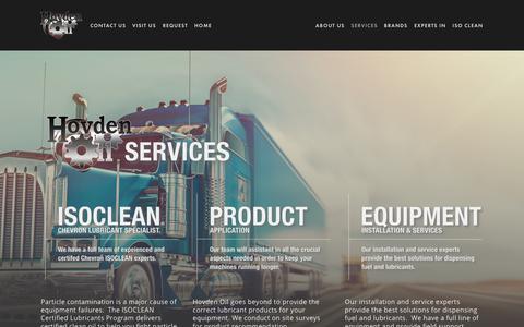 Screenshot of Services Page hovdenoil.com - Services — OIL / FUEL / DELIVERIES - captured Dec. 8, 2018