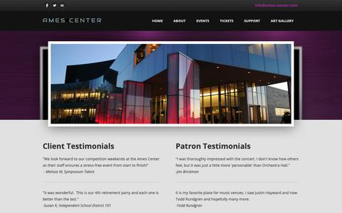 Screenshot of Testimonials Page ames-center.com - Testimonials - The Official Website of the Ames Center - captured Oct. 7, 2018