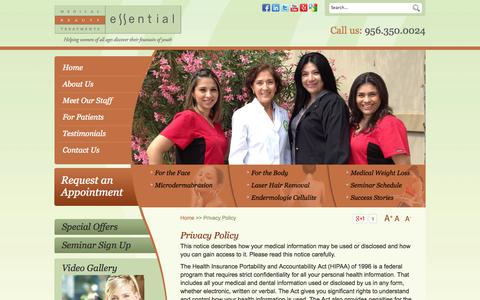 Screenshot of Privacy Page essentialbrownsville.com - Privacy Policy - Essential Medical Beauty Treatments Brownsville, TX - captured Oct. 3, 2014