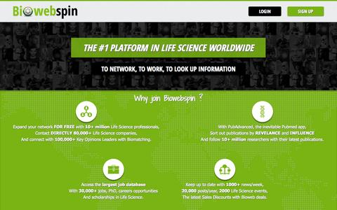 Screenshot of Home Page biowebspin.com - The largest Network in Life Sciences | Biowebspin - captured Sept. 22, 2014